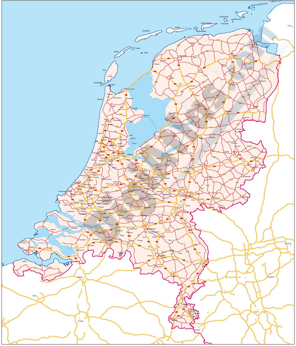 Map of Netherlands with major roads