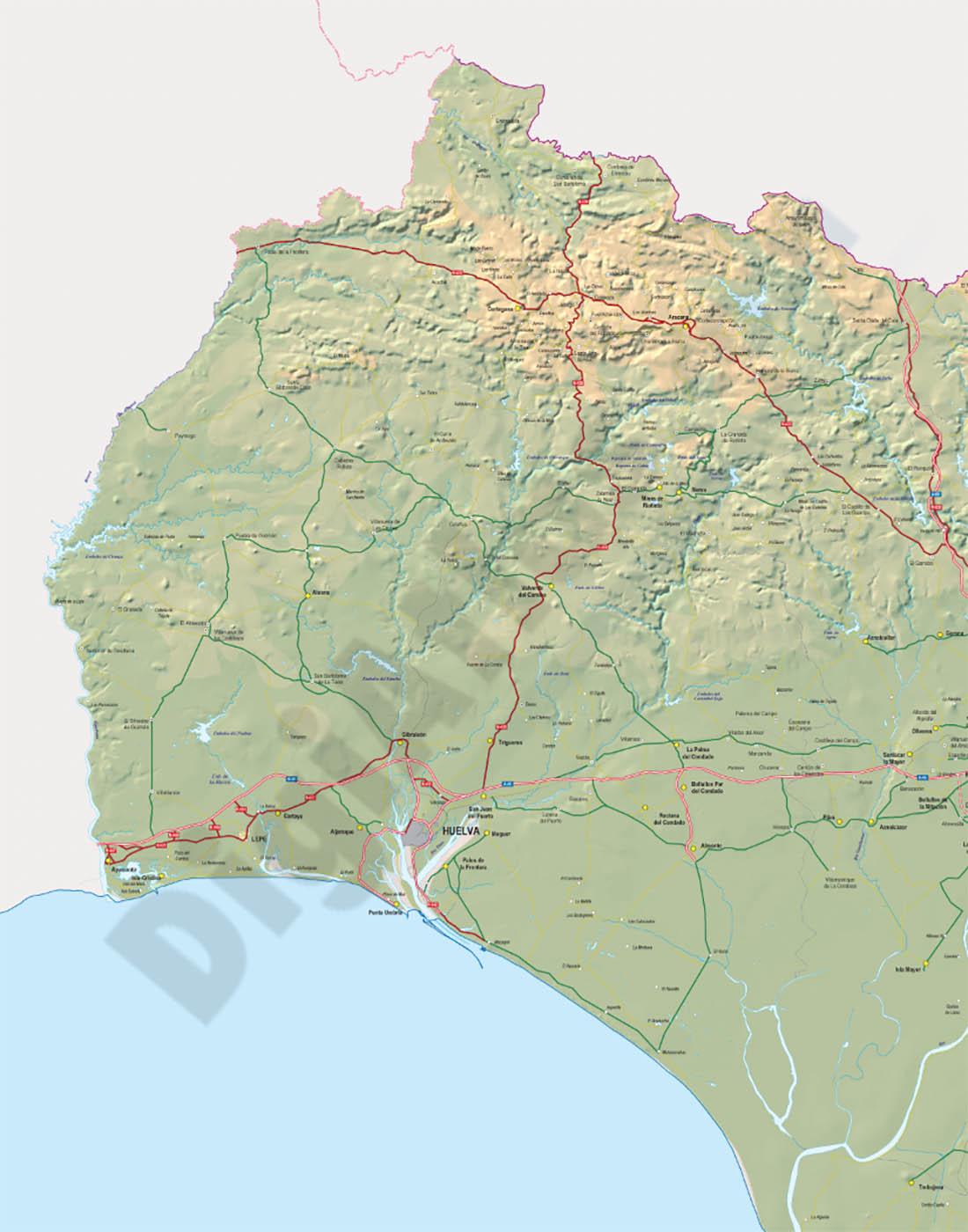 Mapa de la provincia de Huelva