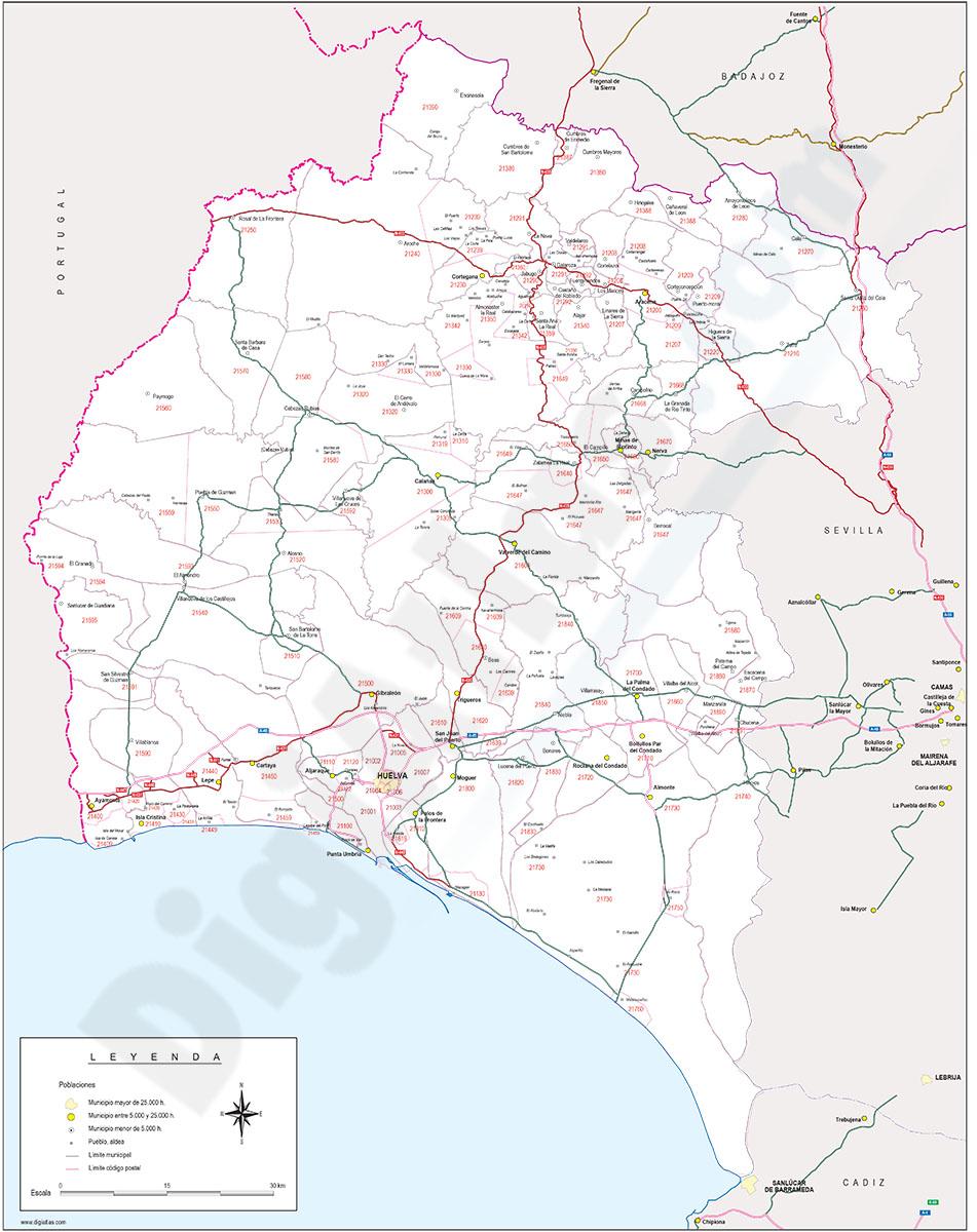 Huelva - mapa provincial con municipios, Códigos Postales y carreteras