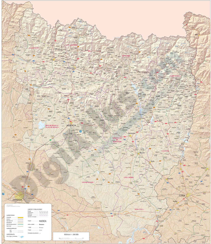 Mapa de la provincia de Huesca