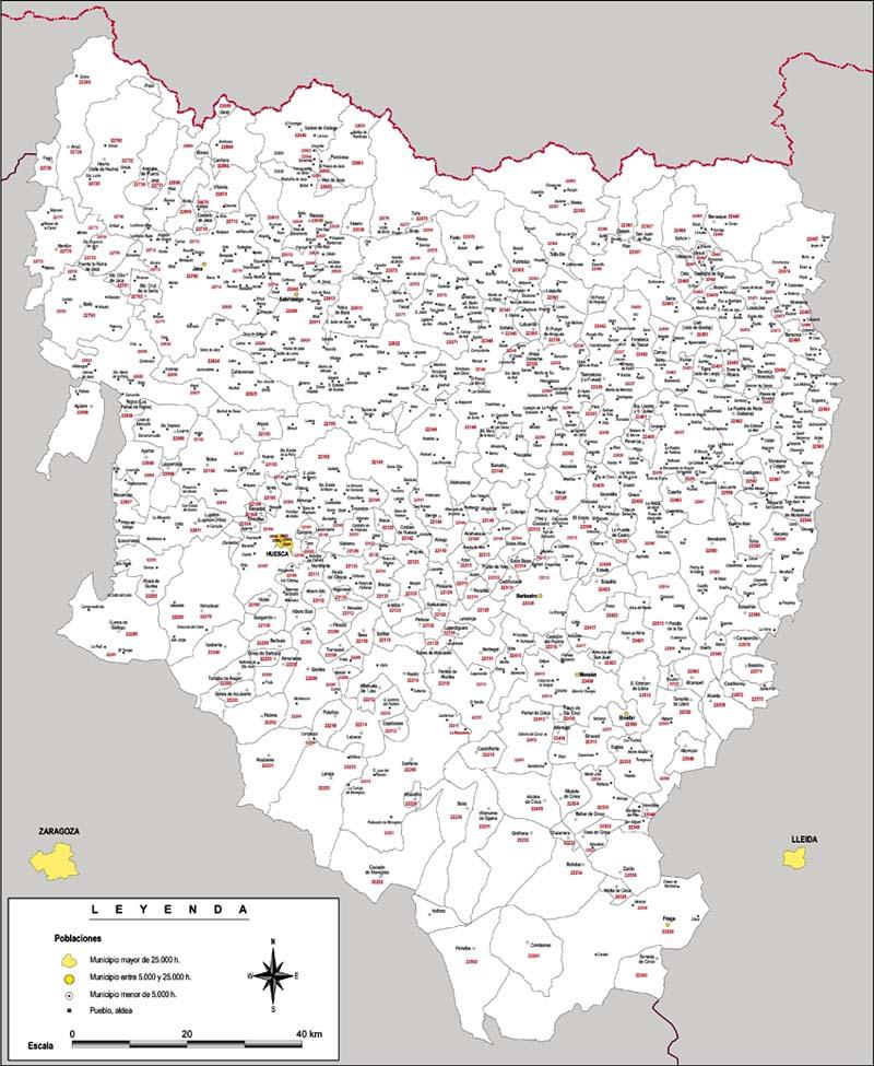 Huesca - mapa provincial con municipios y Códigos Postales