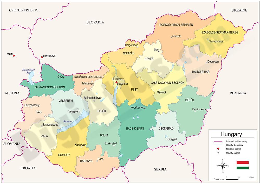 Mapa de Hungría