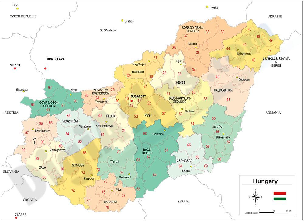 Mapa de Hungría con regiones y codigos postales
