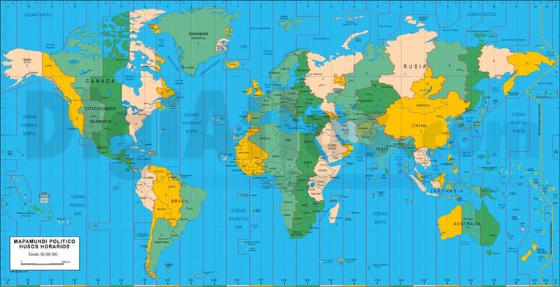 Mapamundi husos horarios