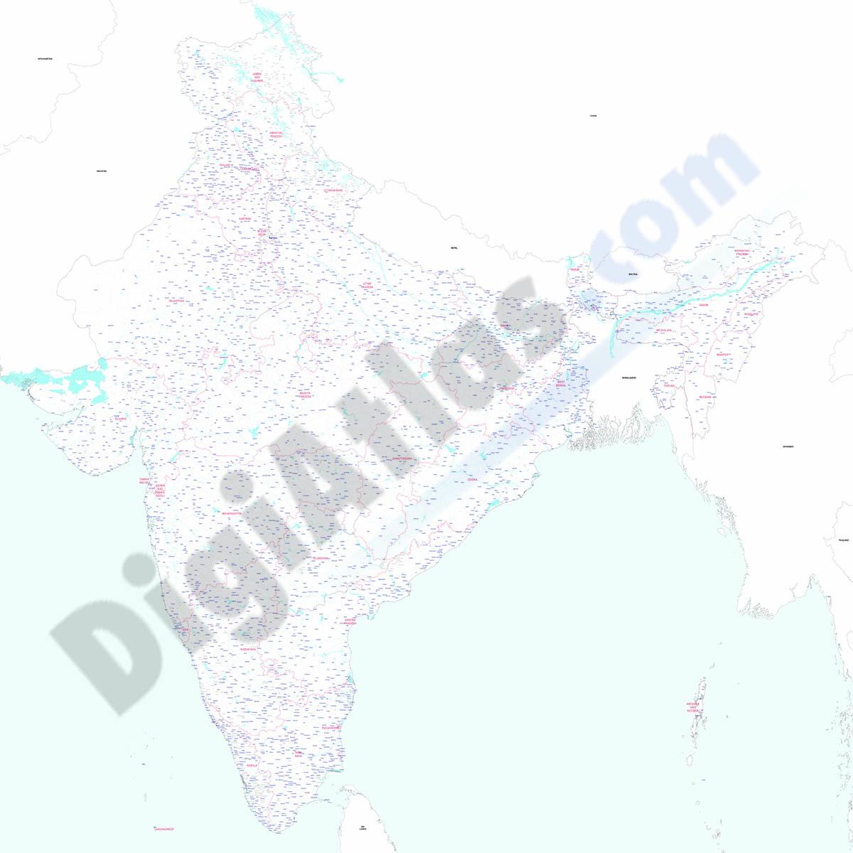 India - Mapa de poblaciones