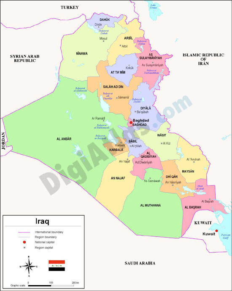 Mapa de Irak
