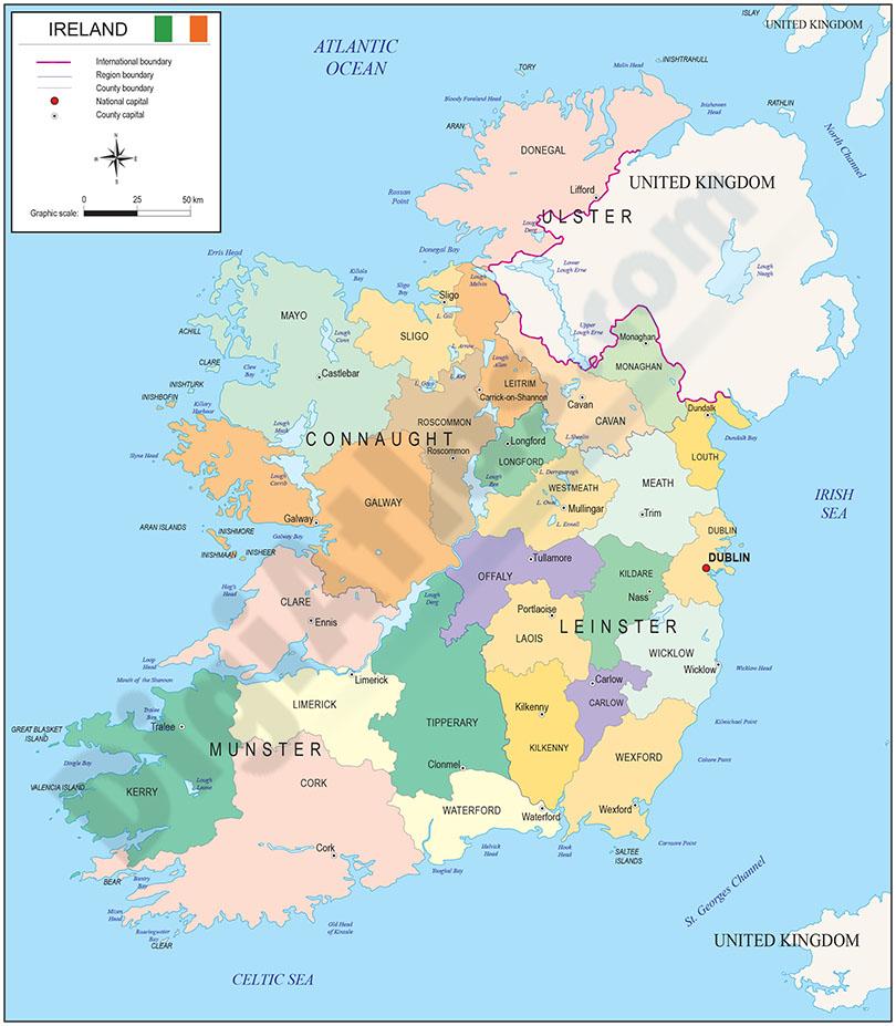 Mapa de Irlanda, Eire