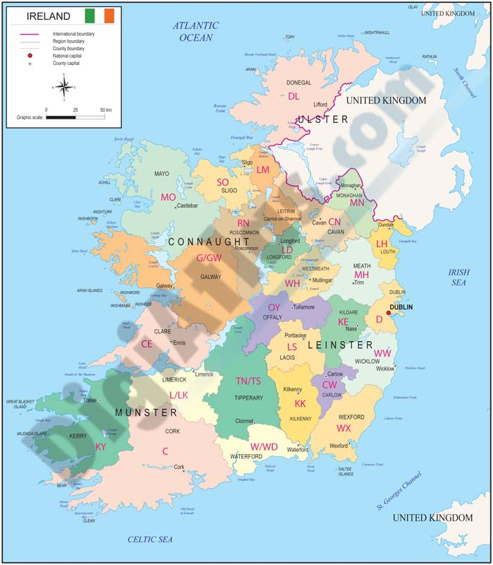Map of Ireland with regions and Postal Codes