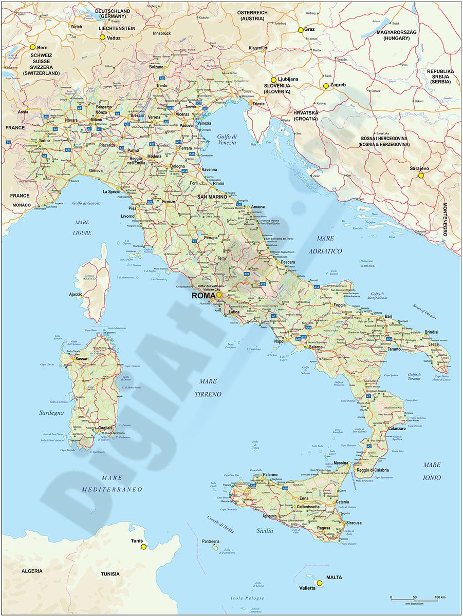 Mapa De Carreteras De Italia - Mapa de italia