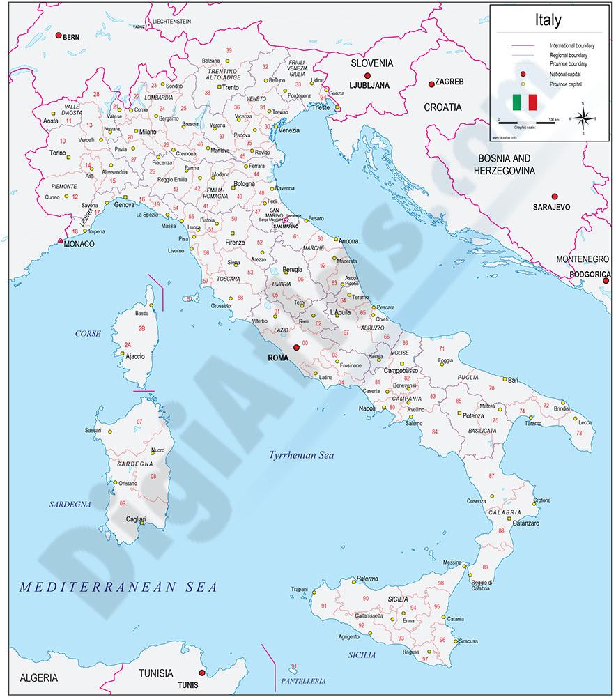 Mapa de Italia con regiones y codigos postales