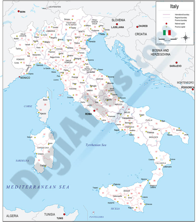 Map of Italy with regions and Postal Codes
