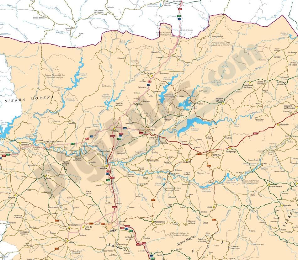 Mapa de la provincia de Jaen