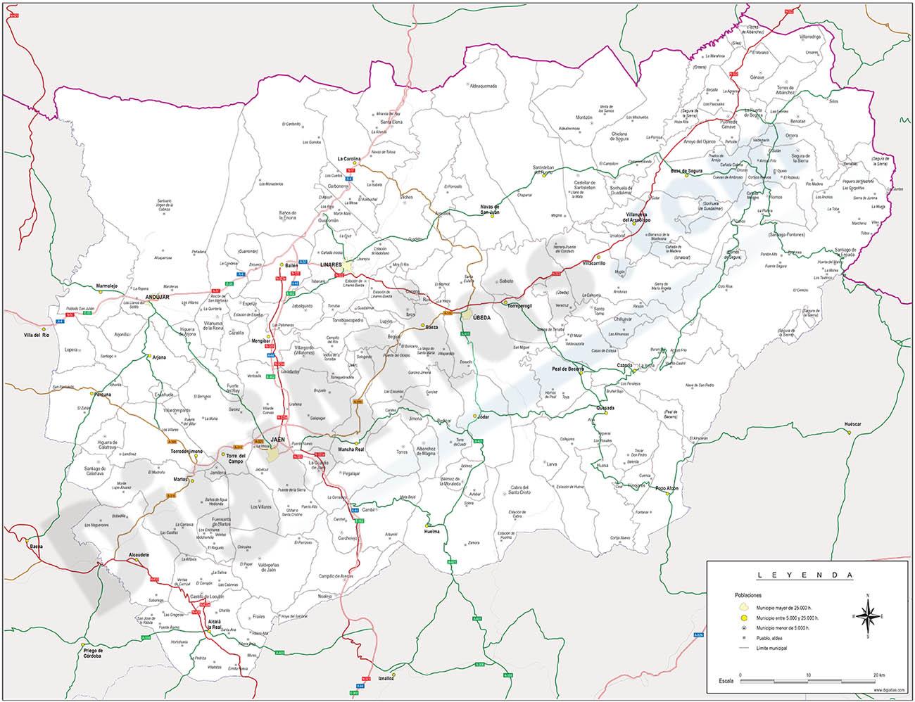 Jaen province map with municipalities