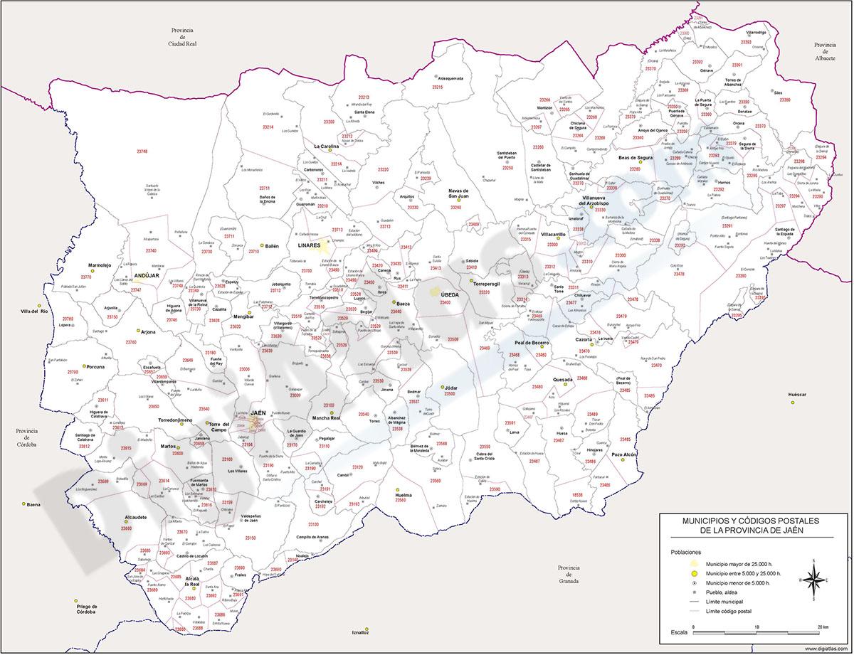 Jaén - mapa provincial con municipios y Códigos Postales