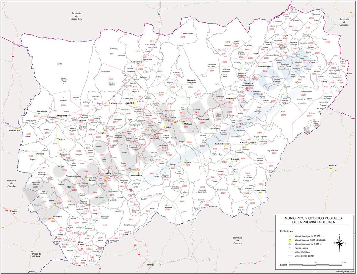 Jaén - mapa provincial con municipios, códigos postales y carreteras