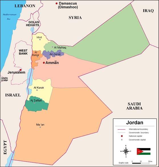 Mapa de Jordania