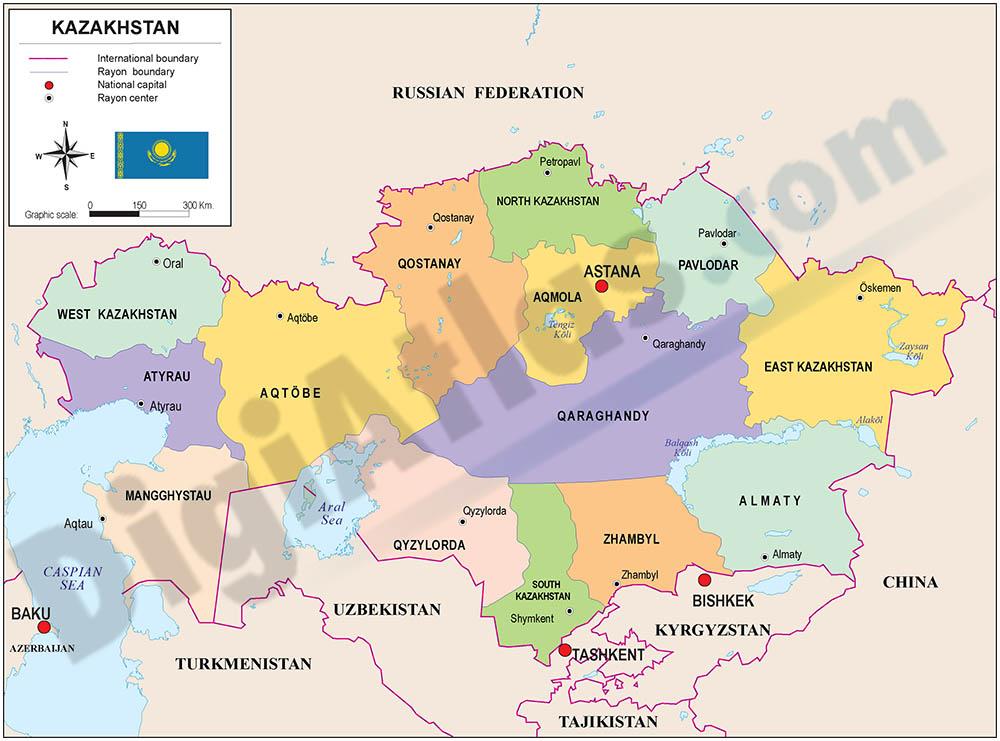 Mapa de Kazajstán