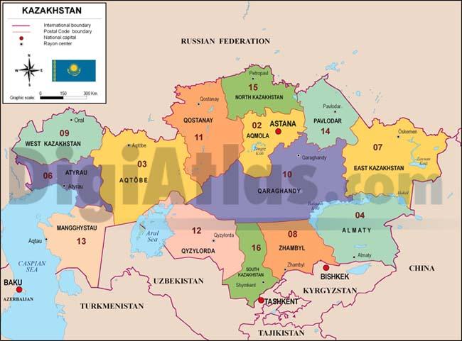 Mapa de Kazajstán con regiones y codigos postales