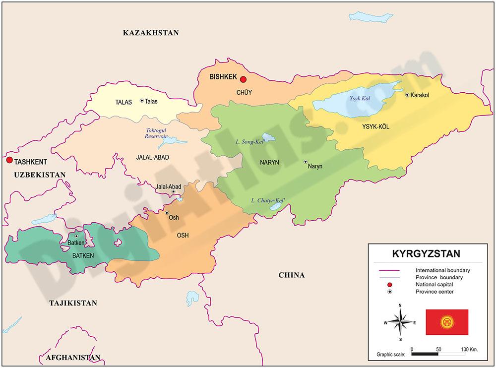 Mapa de Kirguizistán