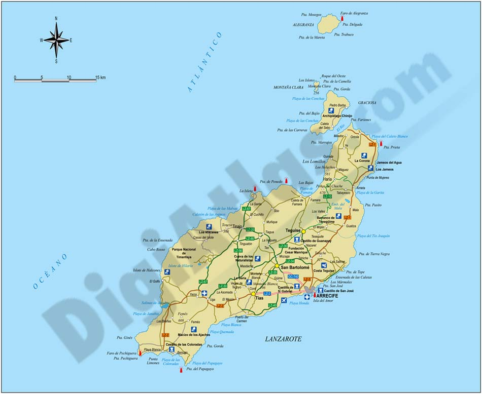 Map of Lanzarote island (canary islands)