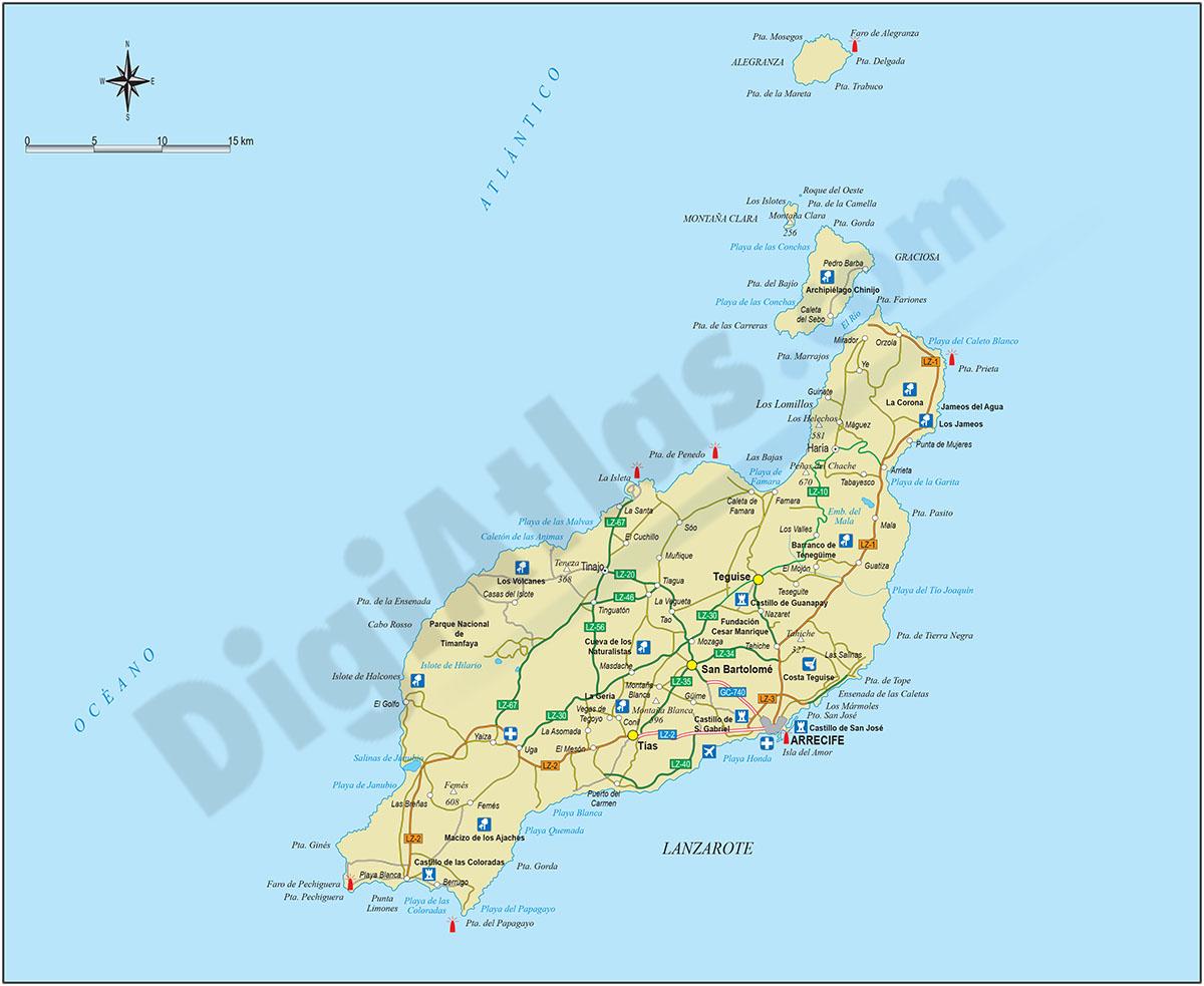 Mapa de la Isla de Lanzarote