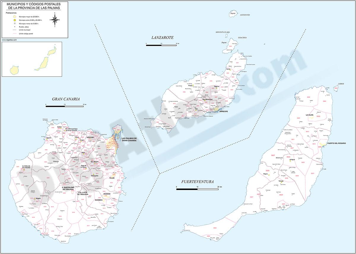 Las Palmas de Gran Canaria - Mapa provincial con municipios y Códigos Postales