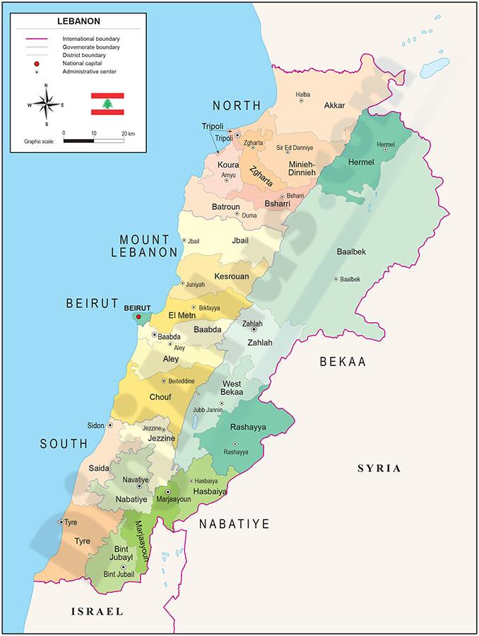 Resultado de imagen de mapa politico líbano