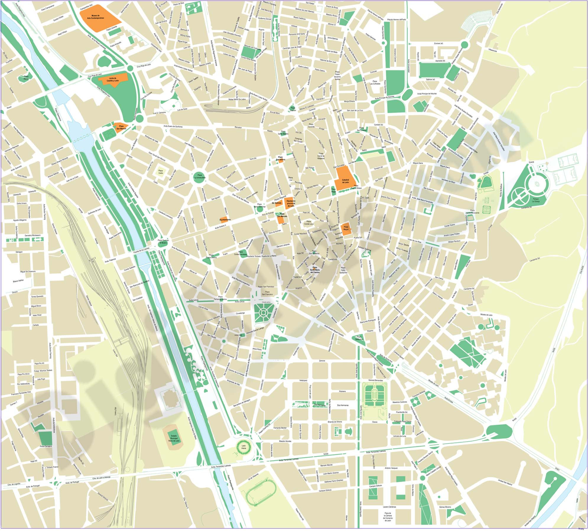 León (Spain) - center of city map
