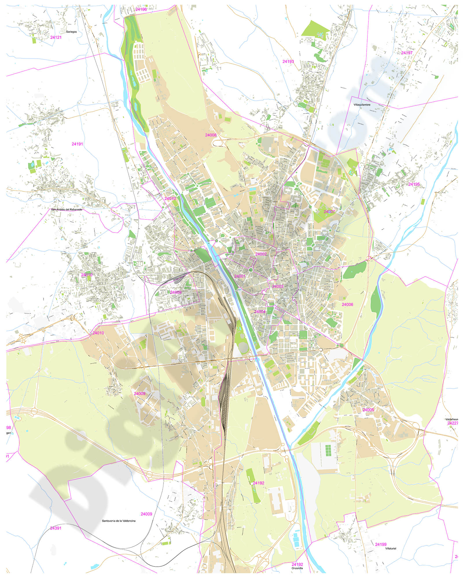 León (Spain) - city map