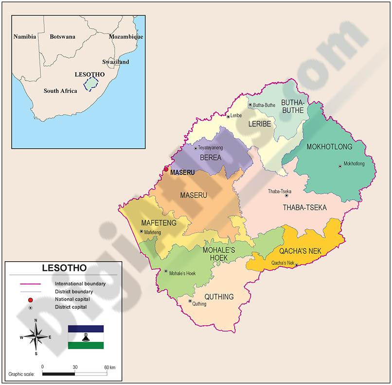 Mapa de Lesotho