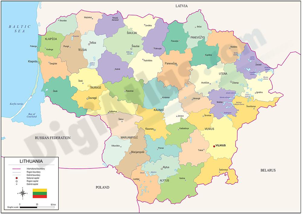 lituania mapa Mapa de Lituania lituania mapa