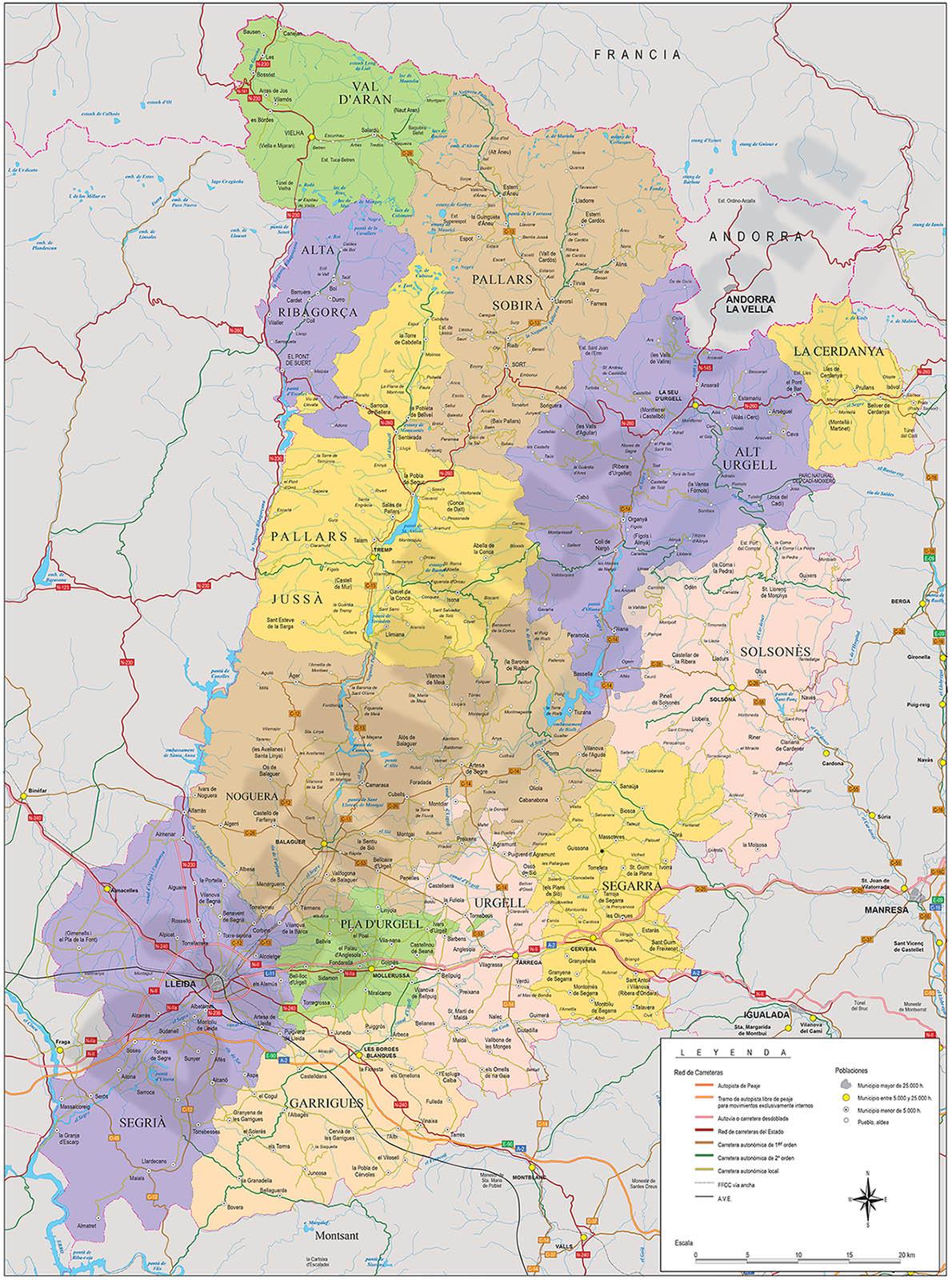 Mapa de la provincia de Lleida
