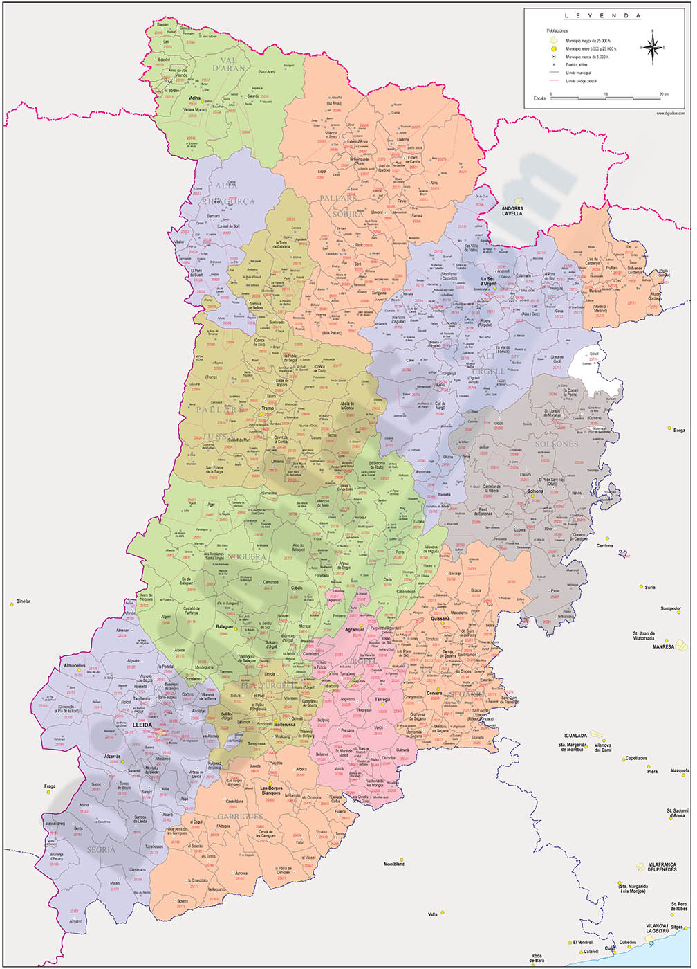 Lleida - province map with municipalities, comarcas and postal codes