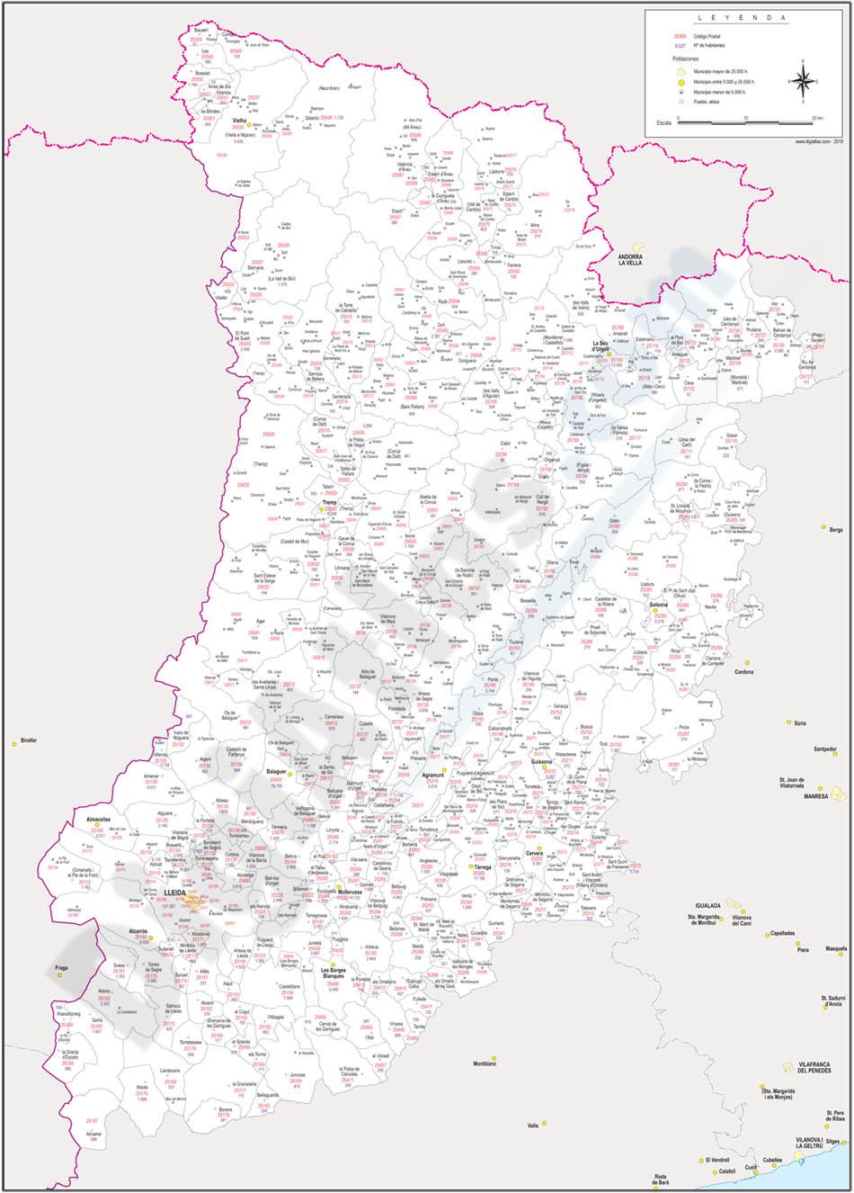 Lleida - mapa provincial con municipios, códigos postales y habitantes
