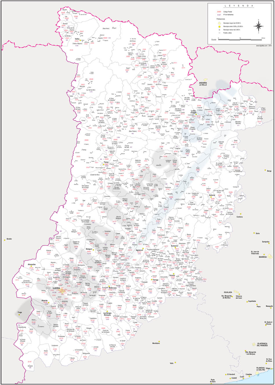 Lleida - province map with municipalities, postal codes and inhabitants
