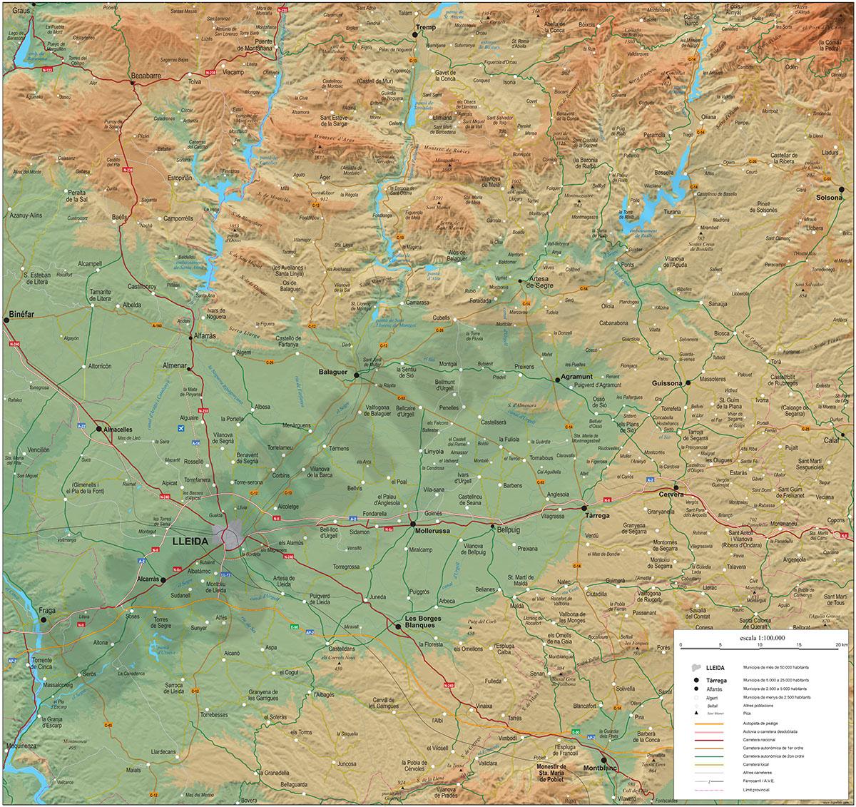 Mapa geográfico de Lleida y la Franja de Ponent
