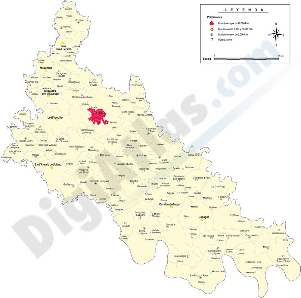 Provincia de Lodi con municipios y poblaciones