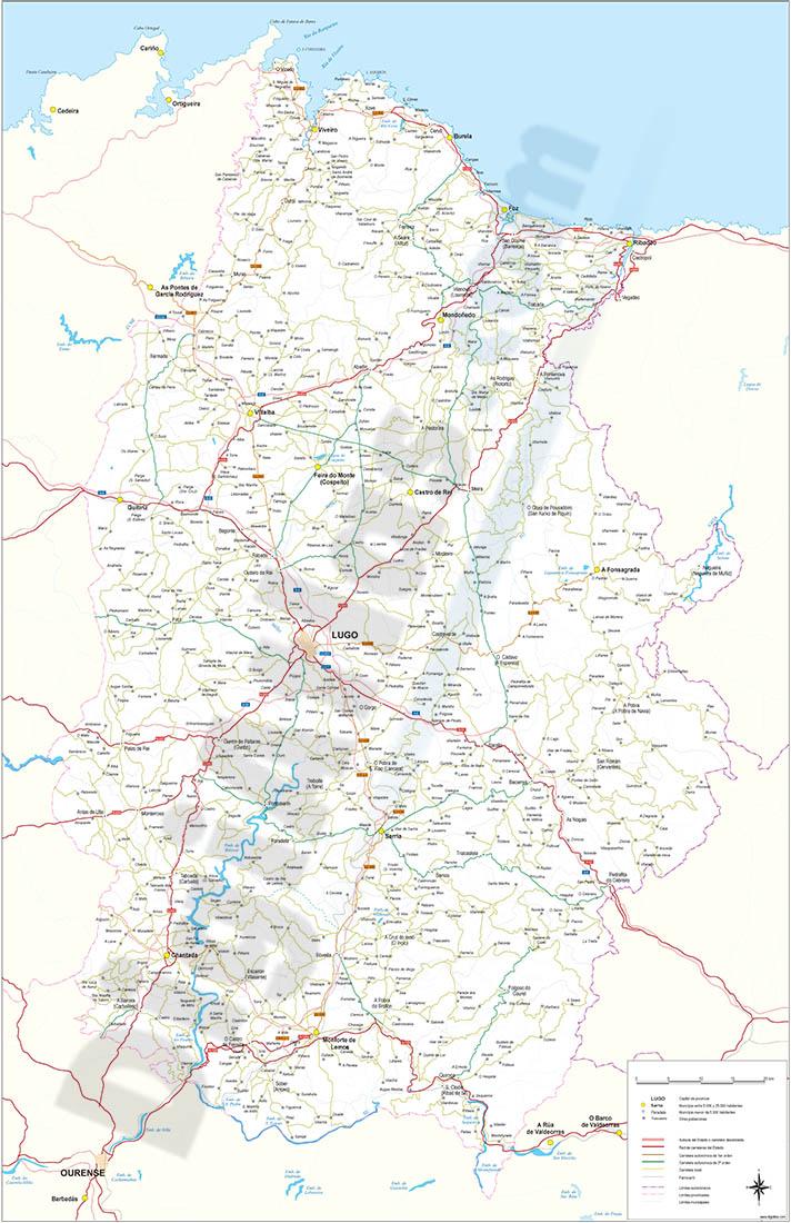 Mapa de la provincia de Lugo
