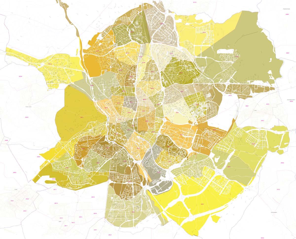 Madrid - plano callejero con códigos postales coloreados