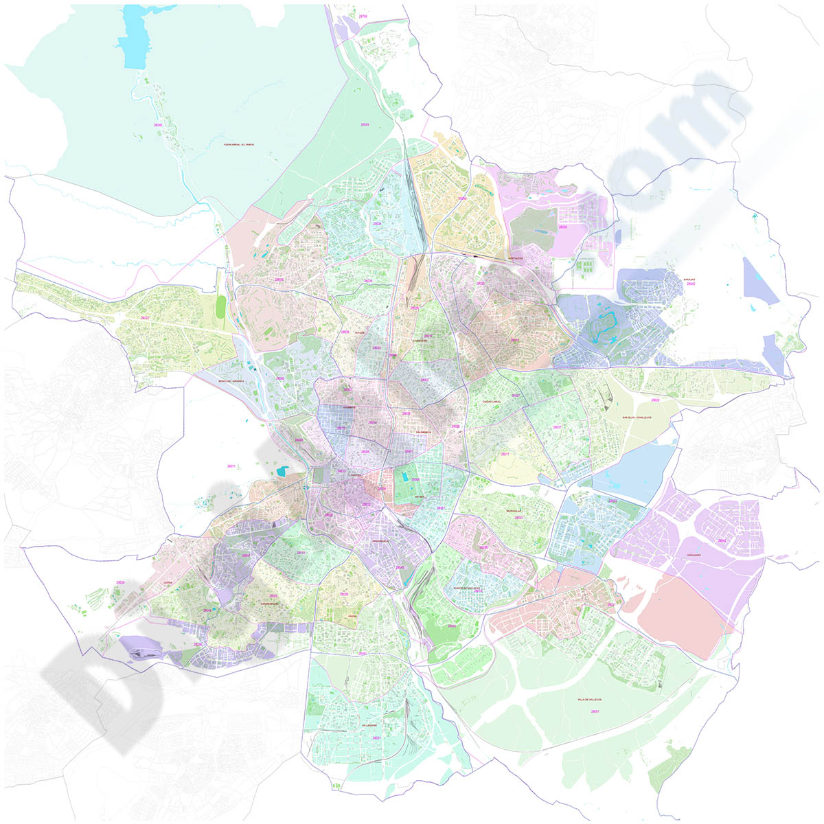 Madrid city map with postal code areas