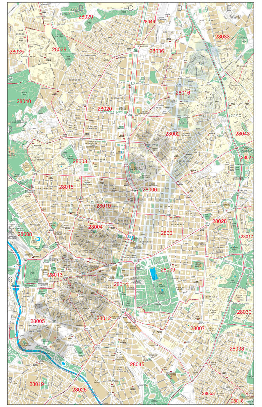 Madrid center city with postal districts
