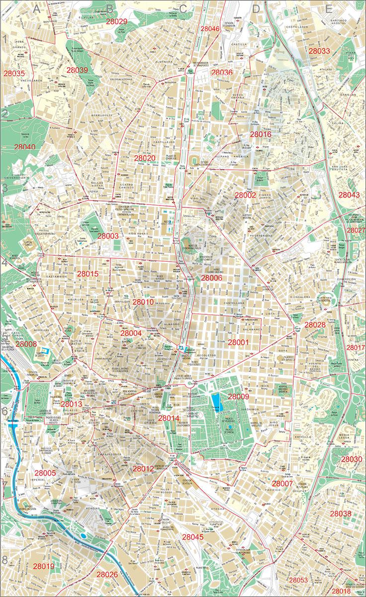 Madrid - plano callejero del centro con códigos postales