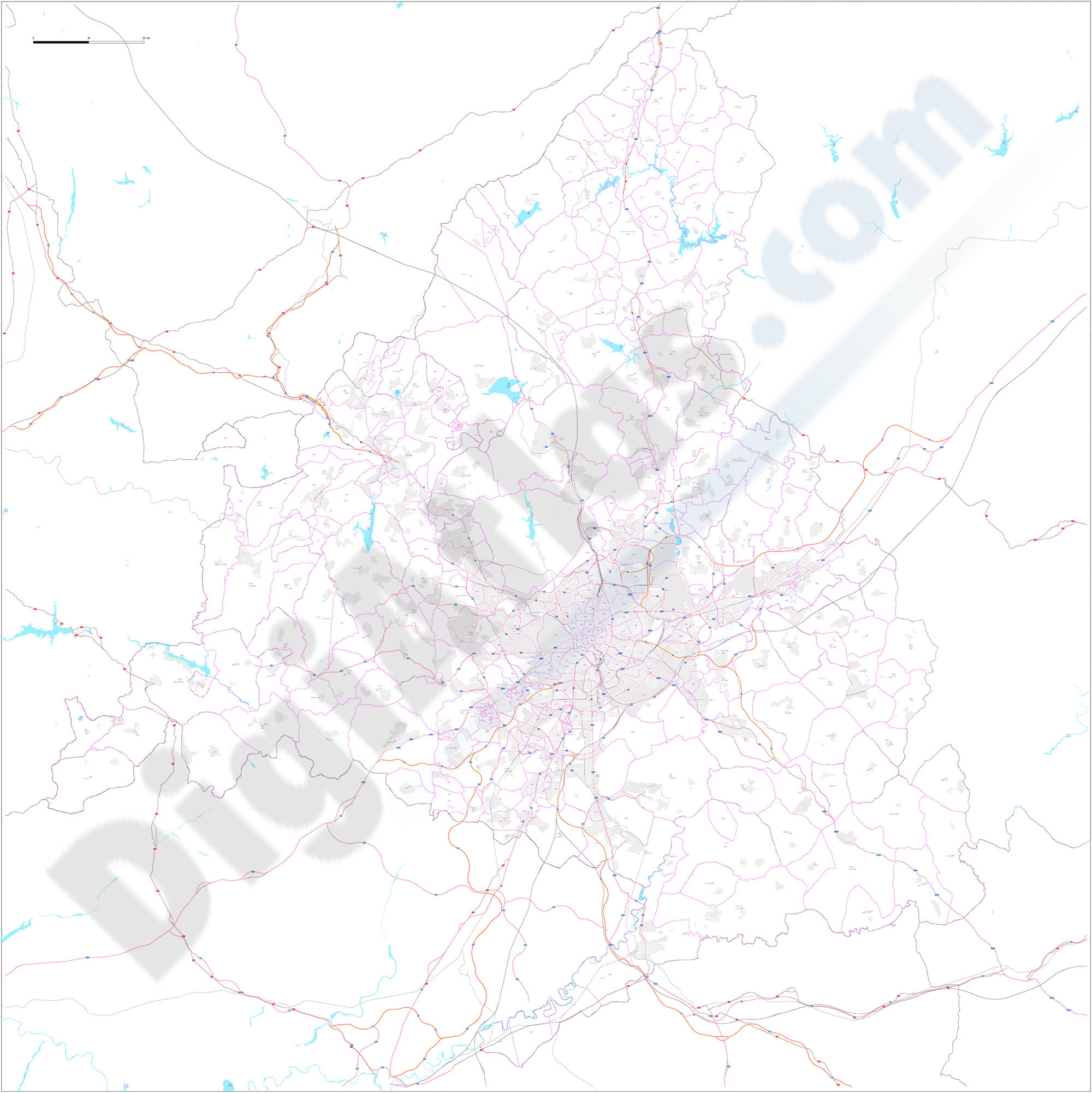 Community of Madrid - Digital map with municipalities and postal codes