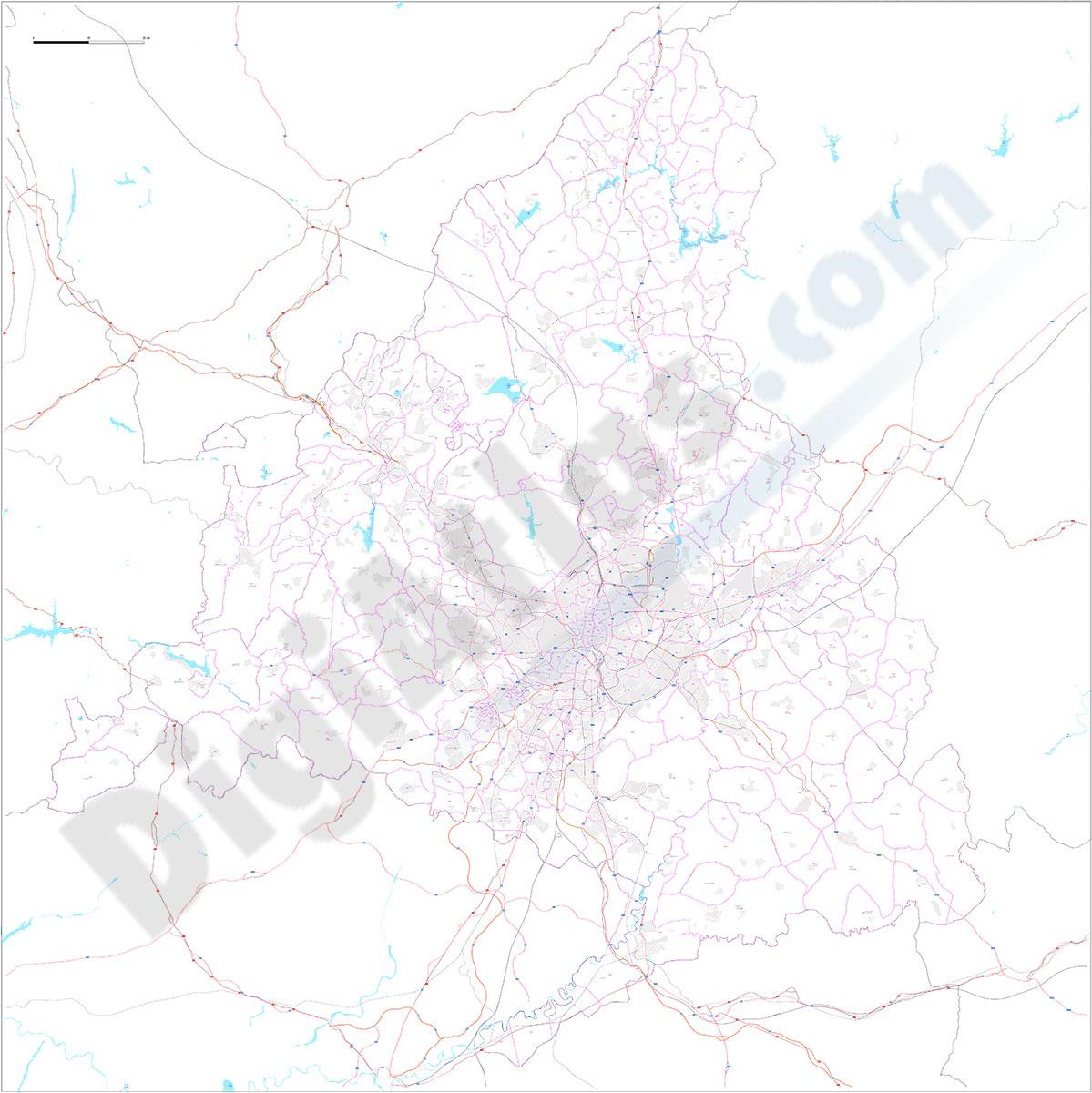Comunidad de Madrid - Mapa digital con municipios y códigos postales
