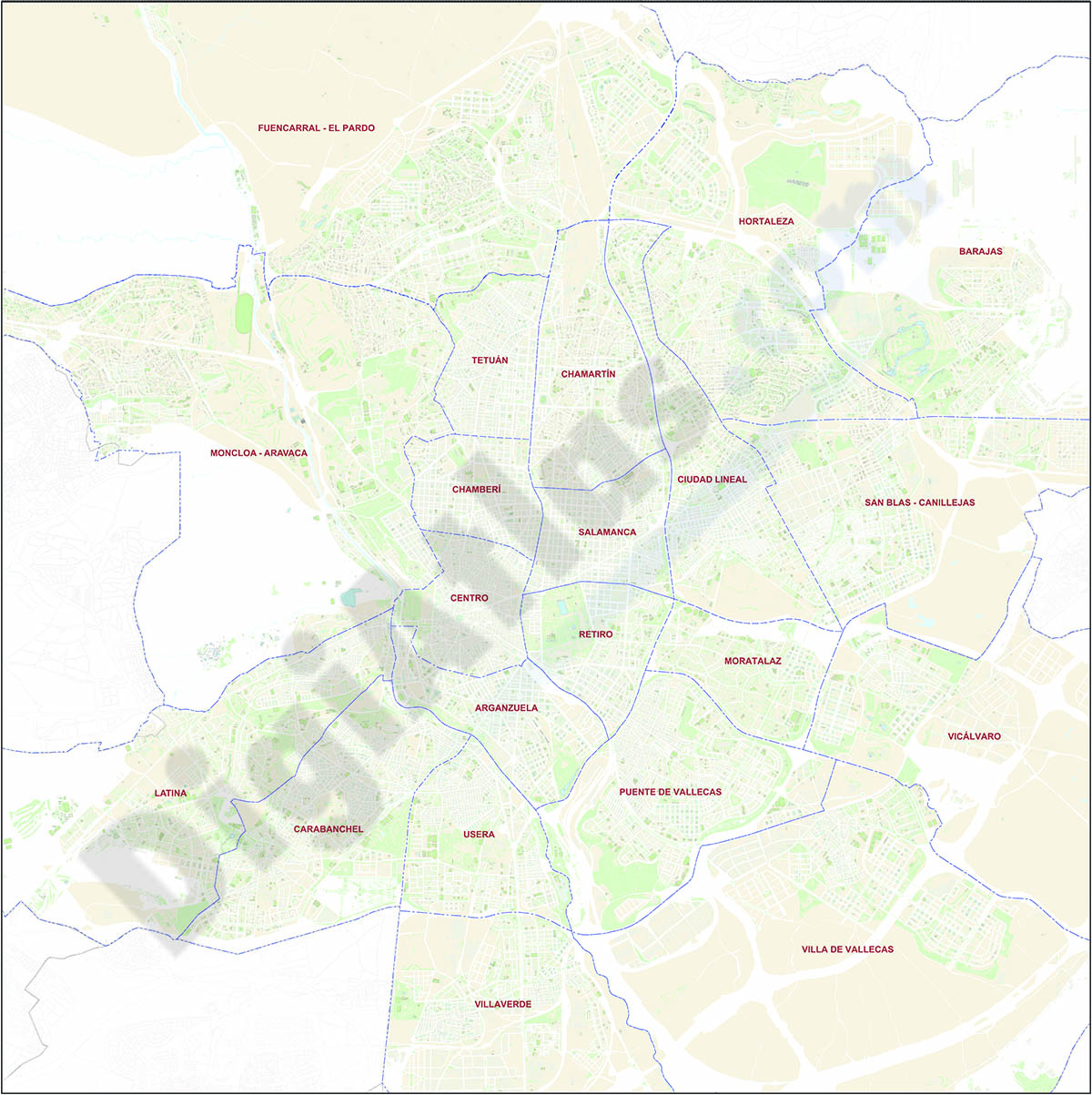 Detailed street map of Madrid with districts