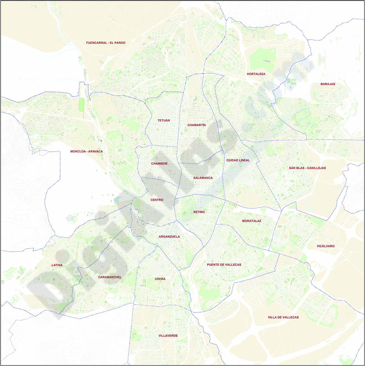 Plano de Madrid con Distritos