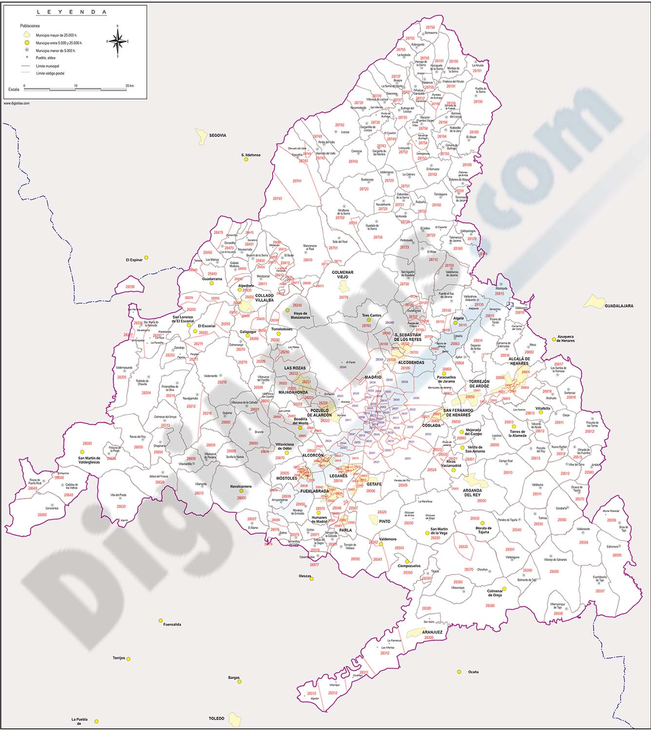 Map of Madrid autonomous community with municipalities and postal codes