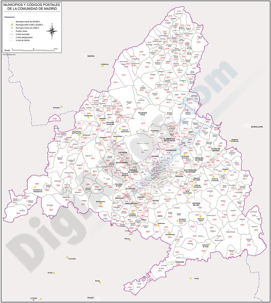 Madrid  - mapa autonómico con municipios y Códigos Postales