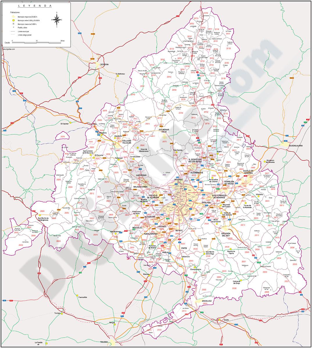 Madrid - mapa autonómico con Códigos Postales y carreteras