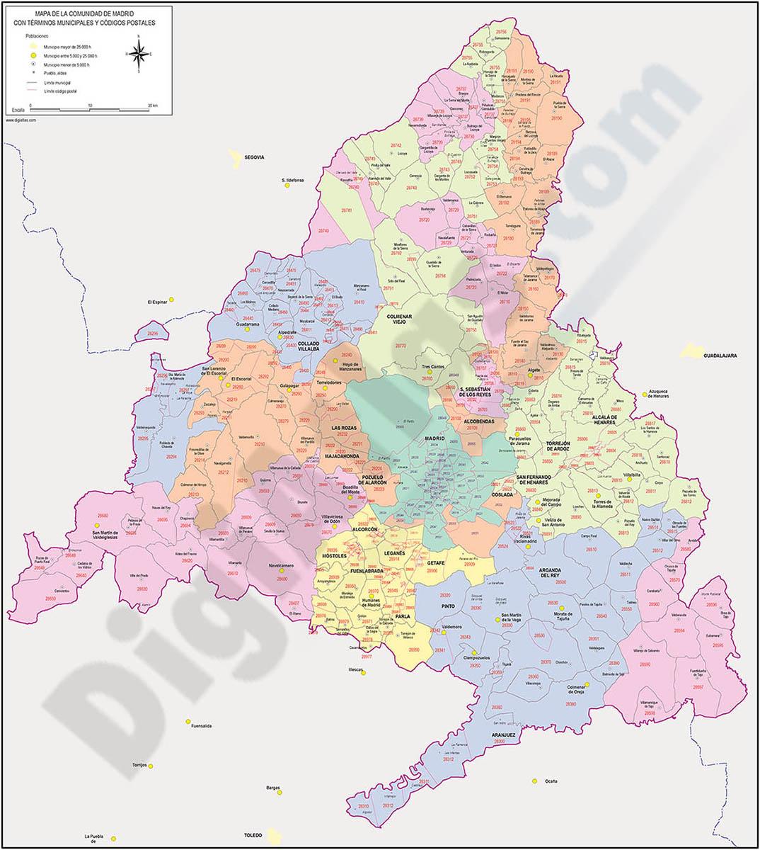 Map of Madrid autonomous community, municipalities and postal codes color